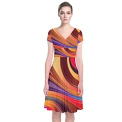 Abstract Colorful Background Wavy Short Sleeve Front Wrap Dress