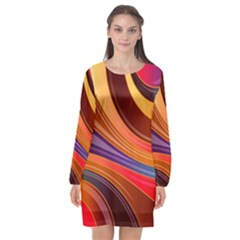 Abstract Colorful Background Wavy Long Sleeve Chiffon Shift Dress