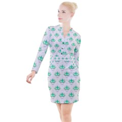 Plant Pattern Green Leaf Flora Button Long Sleeve Dress by Pakrebo