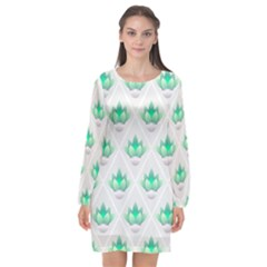 Plant Pattern Green Leaf Flora Long Sleeve Chiffon Shift Dress  by Pakrebo