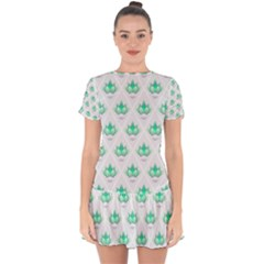 Plant Pattern Green Leaf Flora Drop Hem Mini Chiffon Dress by Pakrebo