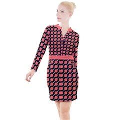 Between Circles Black And Coral Coral Button Long Sleeve Dress by TimelessFashion