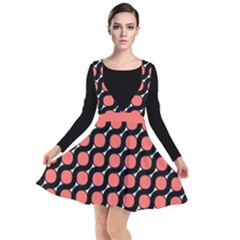 Between Circles Black And Coral Coral Plunge Pinafore Dress by TimelessFashion