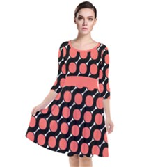 Between Circles Black And Coral Coral Quarter Sleeve Waist Band Dress by TimelessFashion