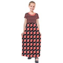 Between Circles Black And Coral Coral Kids  Short Sleeve Maxi Dress by TimelessFashion