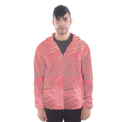 Palms Shadow On Living Coral Hooded Windbreaker (men) by LoolyElzayat