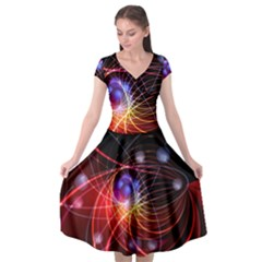 Physics Quantum Physics Particles Cap Sleeve Wrap Front Dress
