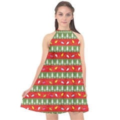Christmas Papers Red And Green Halter Neckline Chiffon Dress  by Pakrebo