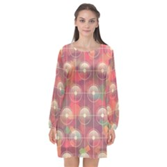 Colorful Background Abstract Long Sleeve Chiffon Shift Dress
