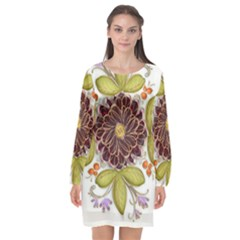 Flowers Decorative Flowers Pattern Long Sleeve Chiffon Shift Dress