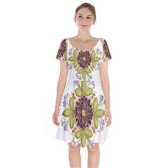 Flowers Decorative Flowers Pattern Short Sleeve Bardot Dress