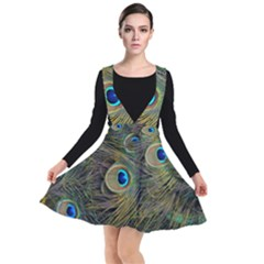 Peacock Tail Feathers Close Up Plunge Pinafore Dress by Pakrebo