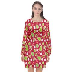 Christmas Paper Scrapbooking Pattern Long Sleeve Chiffon Shift Dress  by Pakrebo