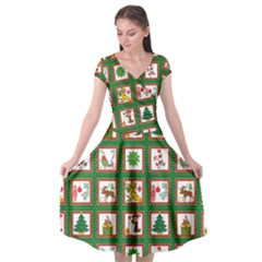 Christmas Paper Christmas Pattern Cap Sleeve Wrap Front Dress