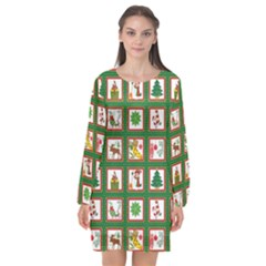 Christmas Paper Christmas Pattern Long Sleeve Chiffon Shift Dress  by Pakrebo