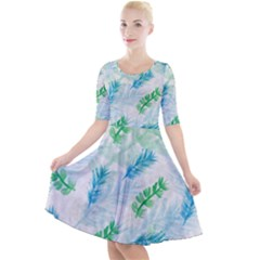 Pattern Feather Fir Colorful Color Quarter Sleeve A Line Dress by Pakrebo