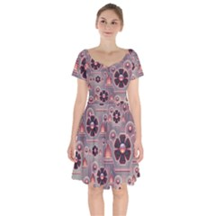 Background Floral Flower Stylised Short Sleeve Bardot Dress