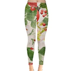 Christmas Bird Floral Berry Leggings  by Pakrebo