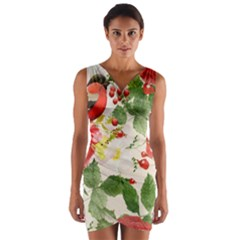 Christmas Bird Floral Berry Wrap Front Bodycon Dress by Pakrebo
