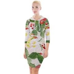 Christmas Bird Floral Berry Quarter Sleeve Hood Bodycon Dress by Pakrebo