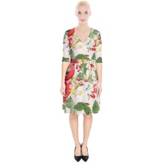 Christmas Bird Floral Berry Wrap Up Cocktail Dress by Pakrebo