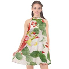 Christmas Bird Floral Berry Halter Neckline Chiffon Dress