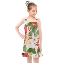 Christmas Bird Floral Berry Kids  Overall Dress by Pakrebo
