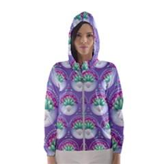 Background Floral Pattern Purple Hooded Windbreaker (women) by Pakrebo