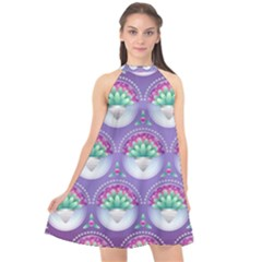 Background Floral Pattern Purple Halter Neckline Chiffon Dress