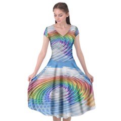 Rainbow Clouds Intimacy Intimate Cap Sleeve Wrap Front Dress by Pakrebo