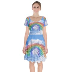 Rainbow Clouds Intimacy Intimate Short Sleeve Bardot Dress