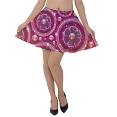 Abstract Background Floral Glossy Velvet Skater Skirt