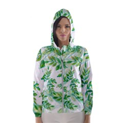 Leaves Green Pattern Nature Plant Hooded Windbreaker (women) by Pakrebo
