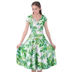 Leaves Green Pattern Nature Plant Cap Sleeve Wrap Front Dress by Pakrebo