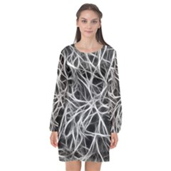 Nerves Cells Dendrites Sepia Long Sleeve Chiffon Shift Dress