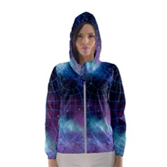 Network Earth Block Chain Globe Hooded Windbreaker (women) by Pakrebo