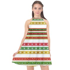 Christmas Ribbons Christmas Gold Halter Neckline Chiffon Dress  by Pakrebo