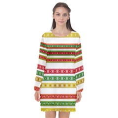 Christmas Ribbons Christmas Gold Long Sleeve Chiffon Shift Dress