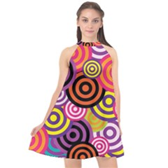 Abstract Circles Background Retro Halter Neckline Chiffon Dress  by Pakrebo