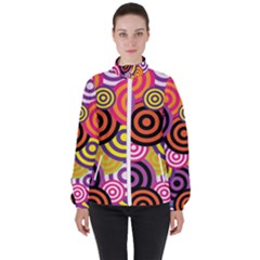Abstract Circles Background Retro High Neck Windbreaker (women) by Pakrebo
