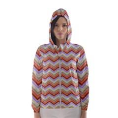 Background Chevron Pattern Design Hooded Windbreaker (women) by Pakrebo