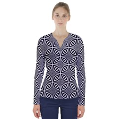 Background Pattern Halftone V Neck Long Sleeve Top by Pakrebo