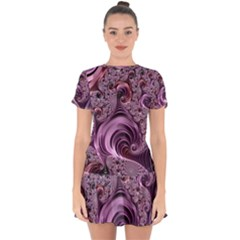 Abstract Art Fractal Art Fractal Drop Hem Mini Chiffon Dress