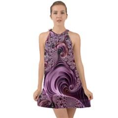 Abstract Art Fractal Art Fractal Halter Tie Back Chiffon Dress by Pakrebo