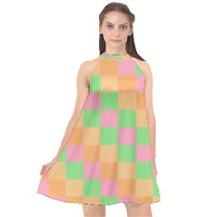 Checkerboard Pastel Squares Halter Neckline Chiffon Dress  by Pakrebo