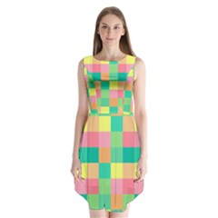Checkerboard Pastel Squares Sleeveless Chiffon Dress   by Pakrebo