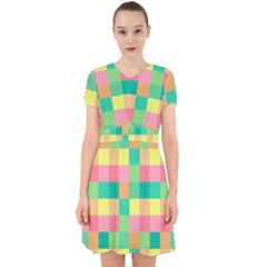 Checkerboard Pastel Squares Adorable In Chiffon Dress by Pakrebo