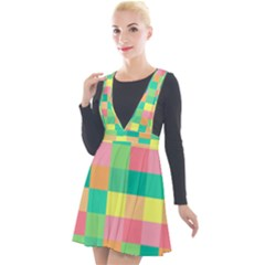 Checkerboard Pastel Squares Plunge Pinafore Velour Dress by Pakrebo