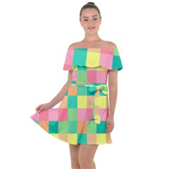Checkerboard Pastel Squares Off Shoulder Velour Dress by Pakrebo