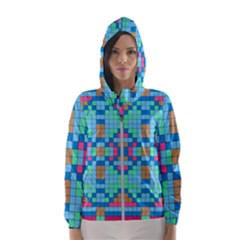 Checkerboard Squares Abstract Hooded Windbreaker (women) by Pakrebo